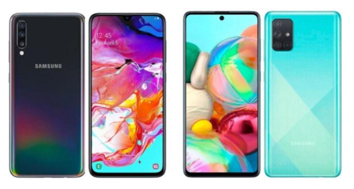 Samsung Galaxy A71, A70 and A70s